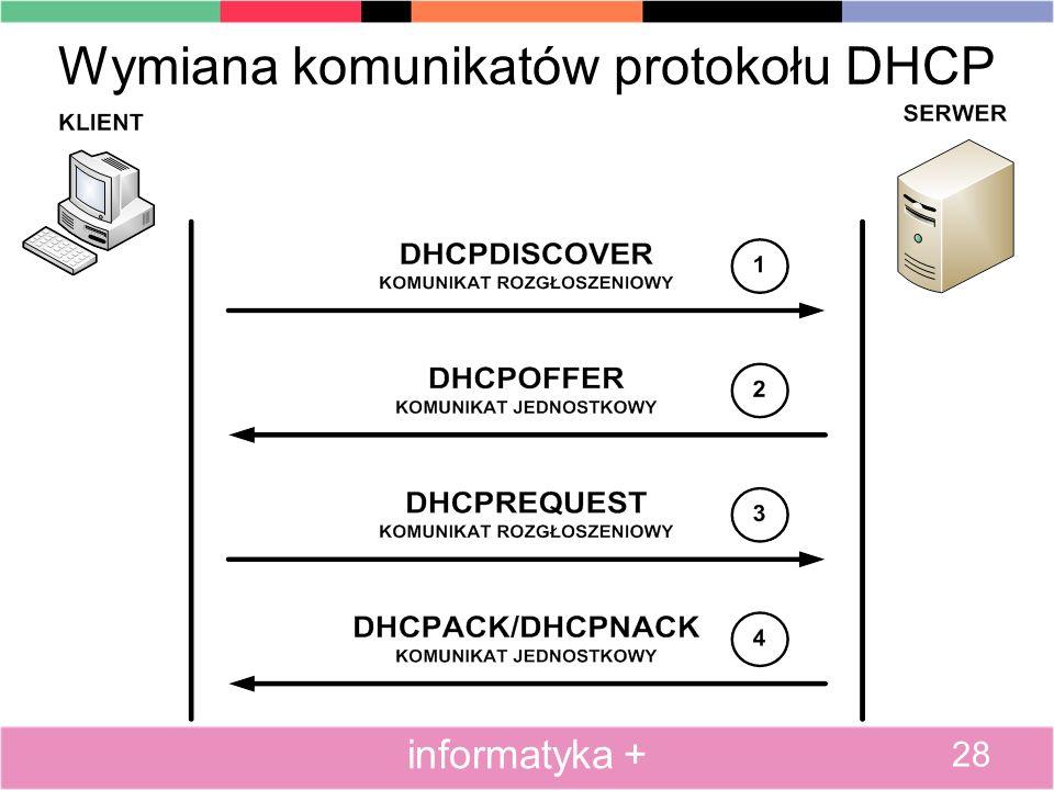 Wymiana komunikatów protokołu DHCP 28 informatyka +