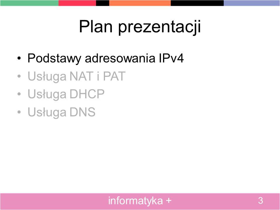 Plan prezentacji Podstawy adresowania IPv4 Usługa NAT i PAT Usługa DHCP Usługa DNS 3 informatyka +