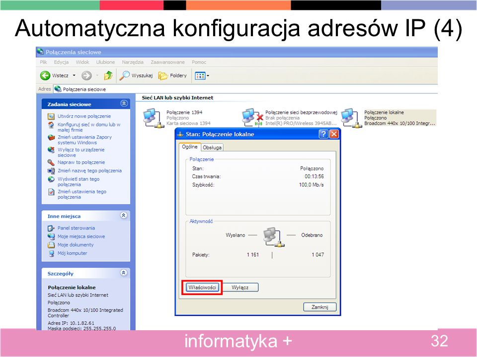 Automatyczna konfiguracja adresów IP (4) 32 informatyka +