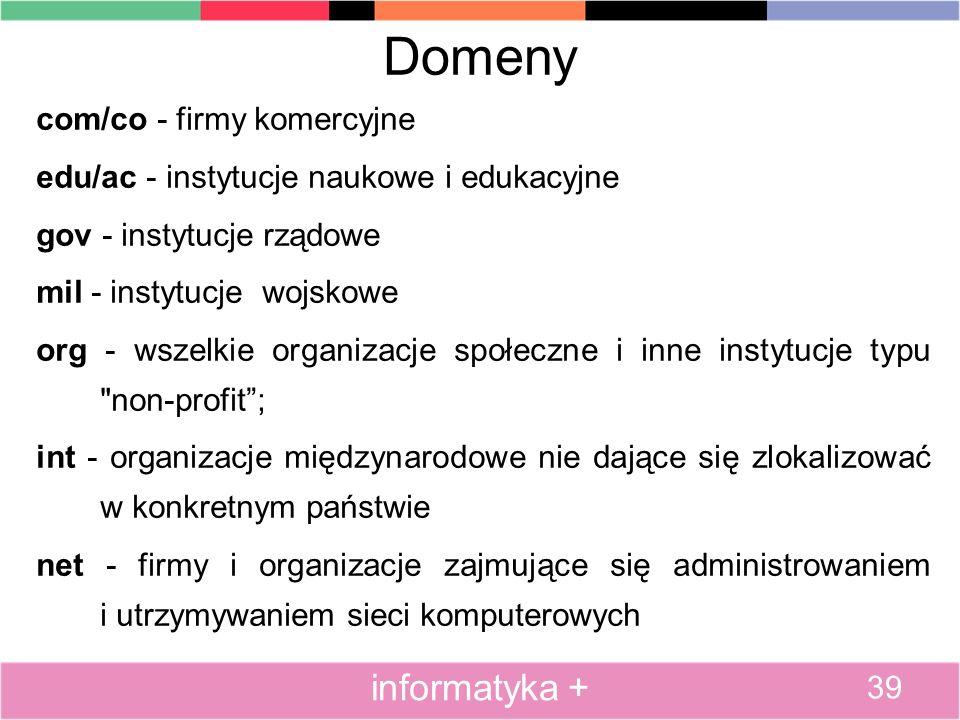 Domeny com/co - firmy komercyjne edu/ac - instytucje naukowe i edukacyjne gov - instytucje rządowe mil - instytucje wojskowe org - wszelkie organizacj