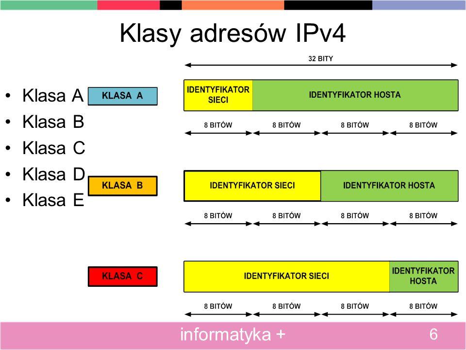 Klasy adresów IPv4 Klasa A Klasa B Klasa C Klasa D Klasa E 6 informatyka +