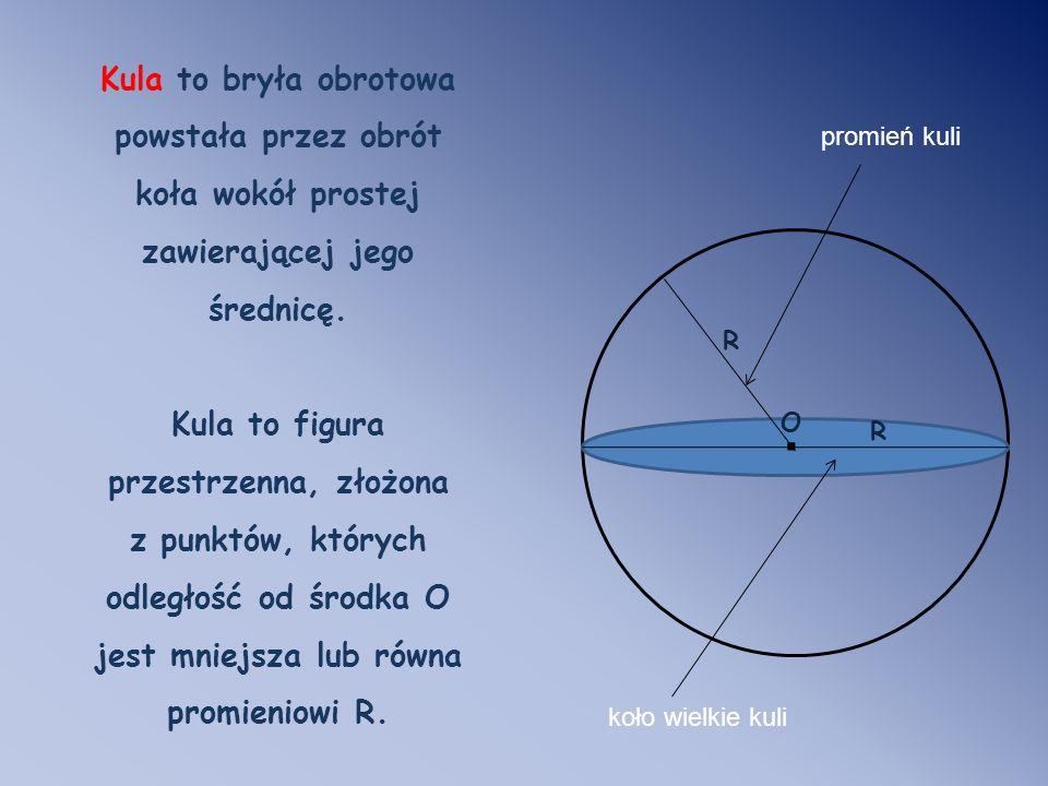 Kula to bryła obrotowa powstała przez obrót koła wokół prostej zawierającej jego średnicę. Kula to figura przestrzenna, złożona z punktów, których odl
