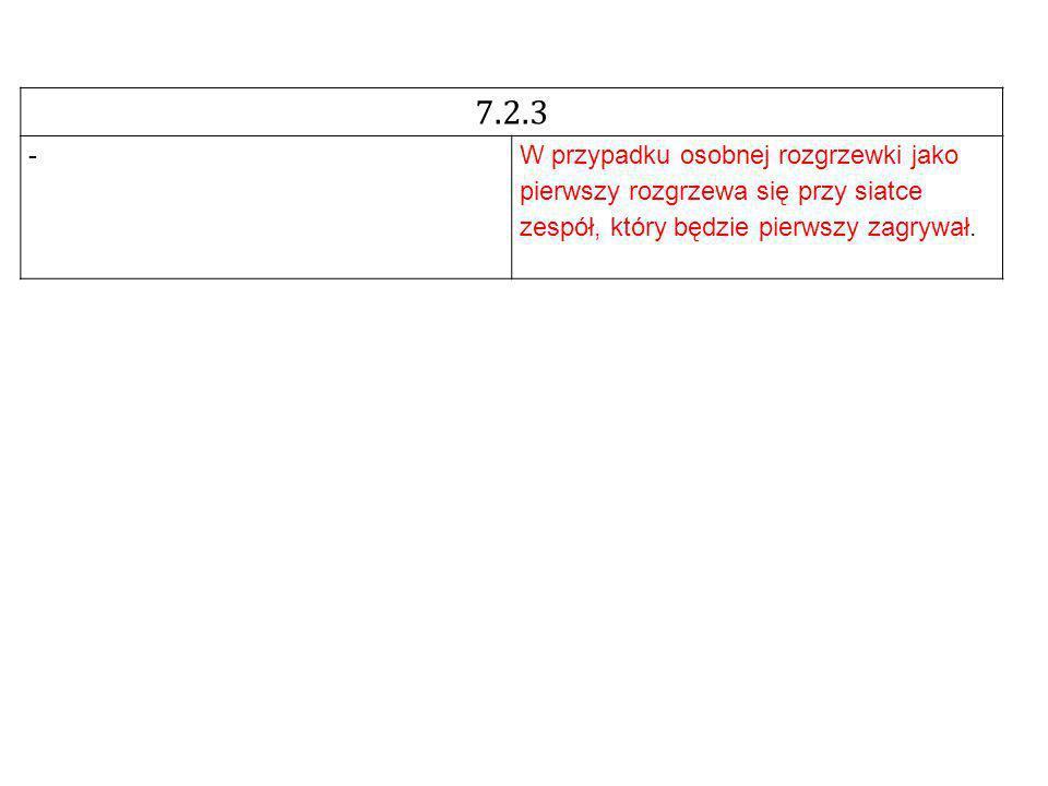 7.2.3 -W przypadku osobnej rozgrzewki jako pierwszy rozgrzewa się przy siatce zespół, który będzie pierwszy zagrywał.