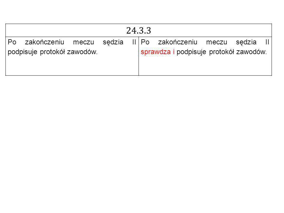 24.3.3 Po zakończeniu meczu sędzia II podpisuje protokół zawodów.