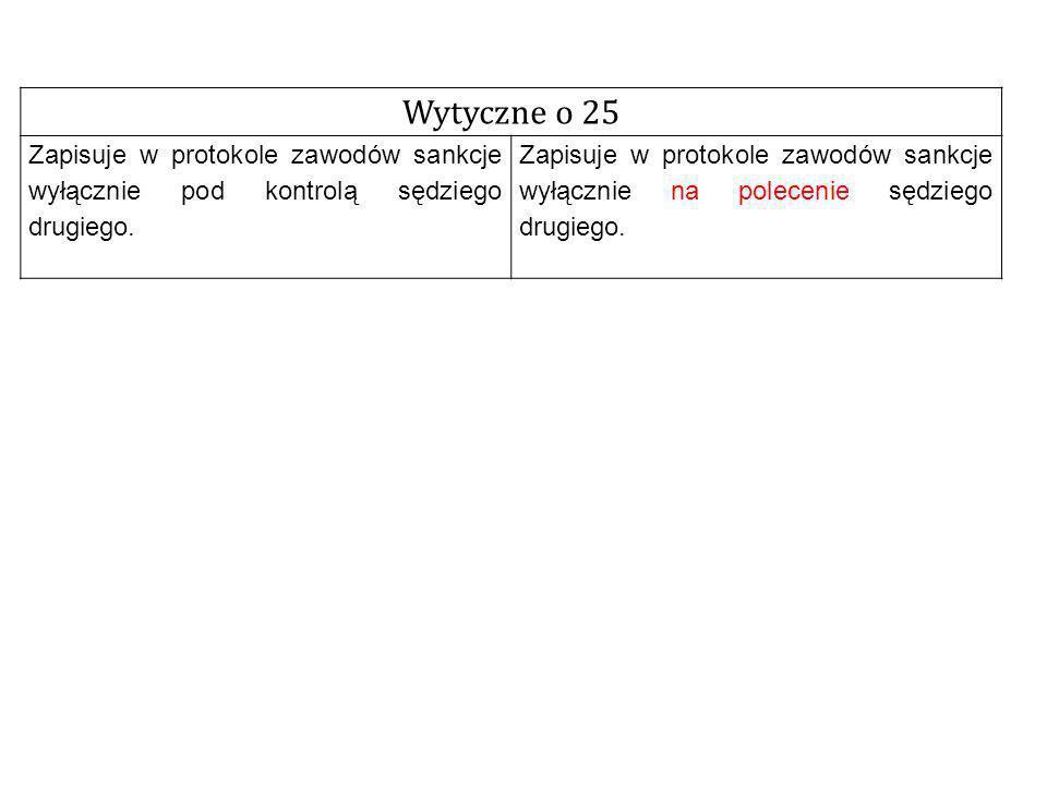 Wytyczne o 25 Zapisuje w protokole zawodów sankcje wyłącznie pod kontrolą sędziego drugiego.