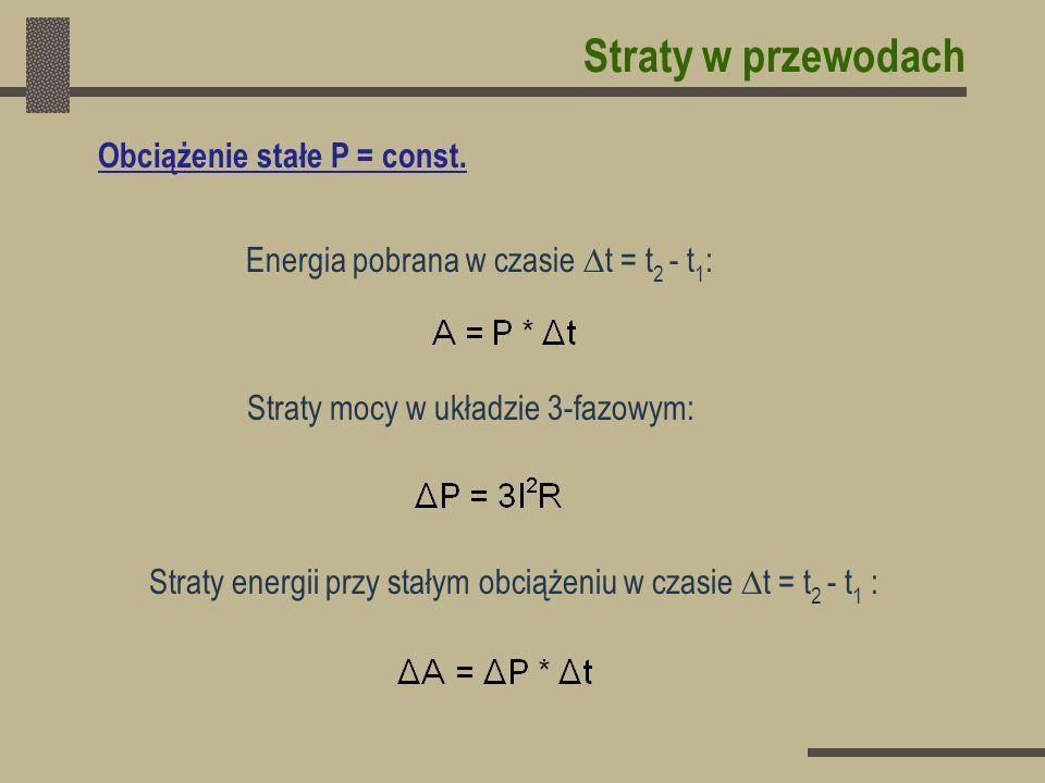 Straty w przewodach Straty mocy w układzie 3-fazowym: Straty energii przy stałym obciążeniu w czasie t = t 2 - t 1 : Obciążenie stałe P = const. Energ