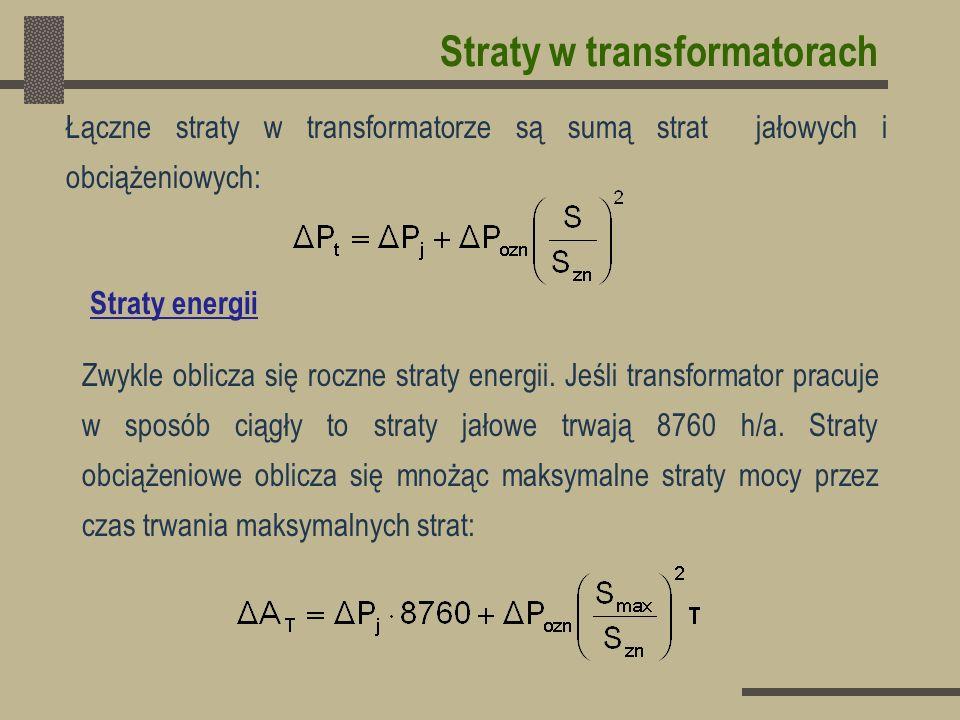 Łączne straty w transformatorze są sumą strat jałowych i obciążeniowych: Zwykle oblicza się roczne straty energii. Jeśli transformator pracuje w sposó