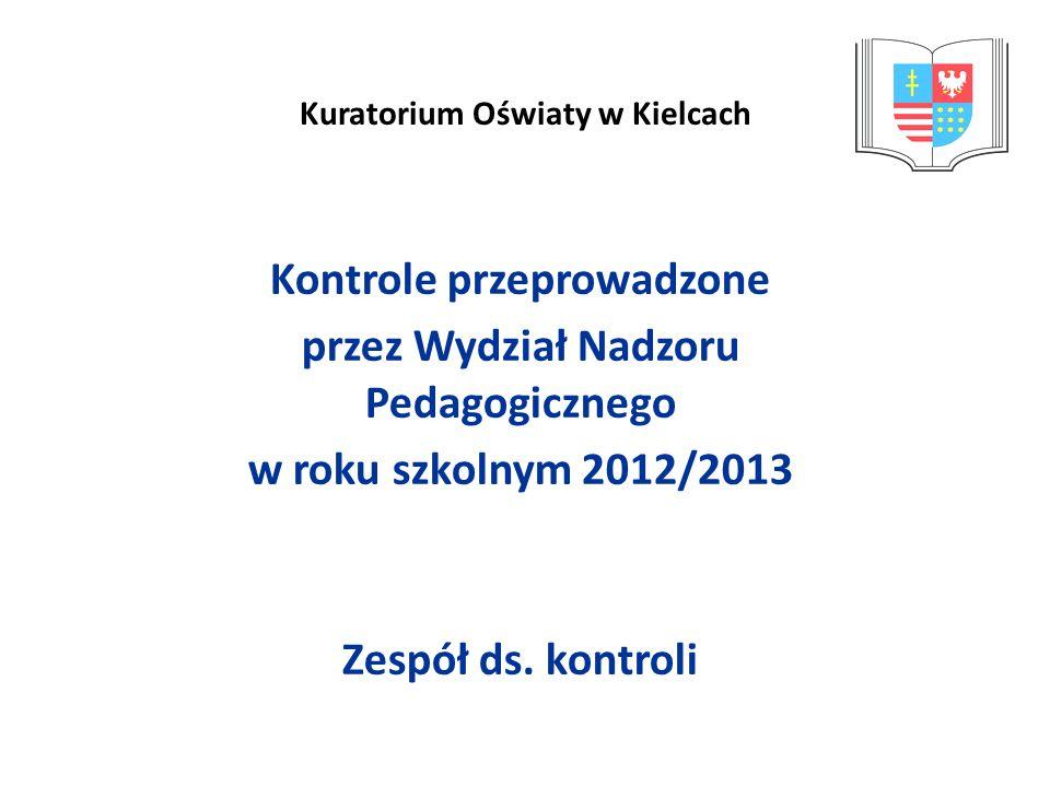 Kuratorium Oświaty w Kielcach Kontrole przeprowadzone przez Wydział Nadzoru Pedagogicznego w roku szkolnym 2012/2013 Zespół ds. kontroli