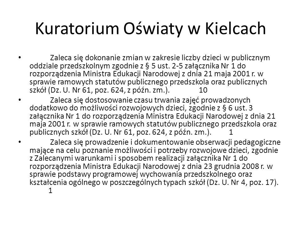 Kuratorium Oświaty w Kielcach Zaleca się dokonanie zmian w zakresie liczby dzieci w publicznym oddziale przedszkolnym zgodnie z § 5 ust. 2-5 załącznik