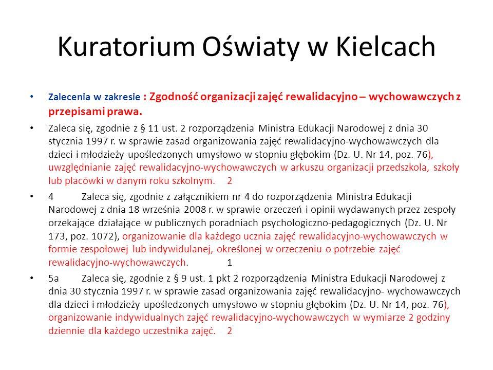 Kuratorium Oświaty w Kielcach Zalecenia w zakresie : Zgodność organizacji zajęć rewalidacyjno – wychowawczych z przepisami prawa. Zaleca się, zgodnie