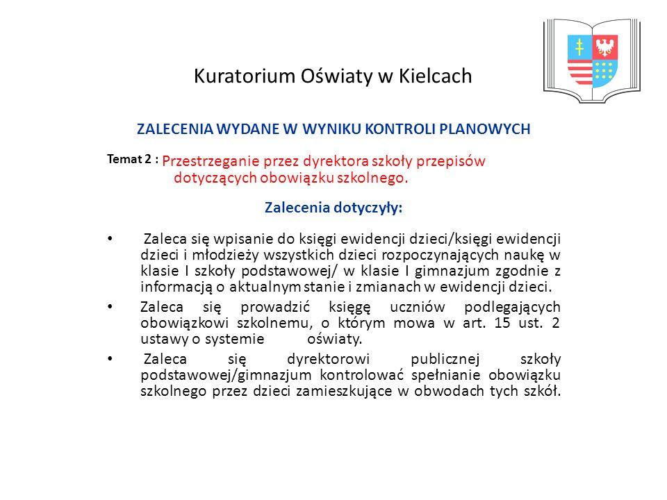 Kuratorium Oświaty w Kielcach ZALECENIA WYDANE W WYNIKU KONTROLI PLANOWYCH Temat 2 : Przestrzeganie przez dyrektora szkoły przepisów dotyczących obowi
