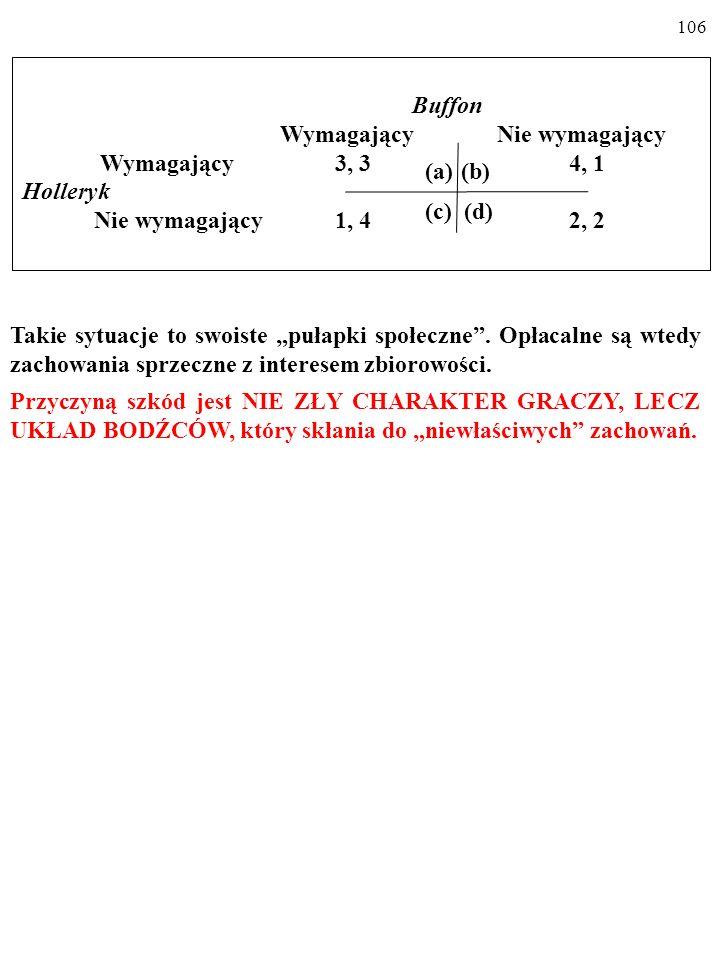 105 Buffon Wymagający Nie wymagający Wymagający 3, 3 4, 1 Holleryk Nie wymagający 1, 4 2, 2 (a)(b) (c) (d) Takie sytuacje to swoiste pułapki społeczne.