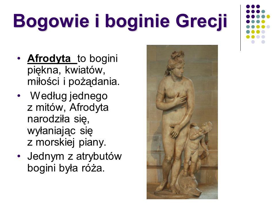 Afrodyta to bogini piękna, kwiatów, miłości i pożądania. Według jednego z mitów, Afrodyta narodziła się, wyłaniając się z morskiej piany. Jednym z atr