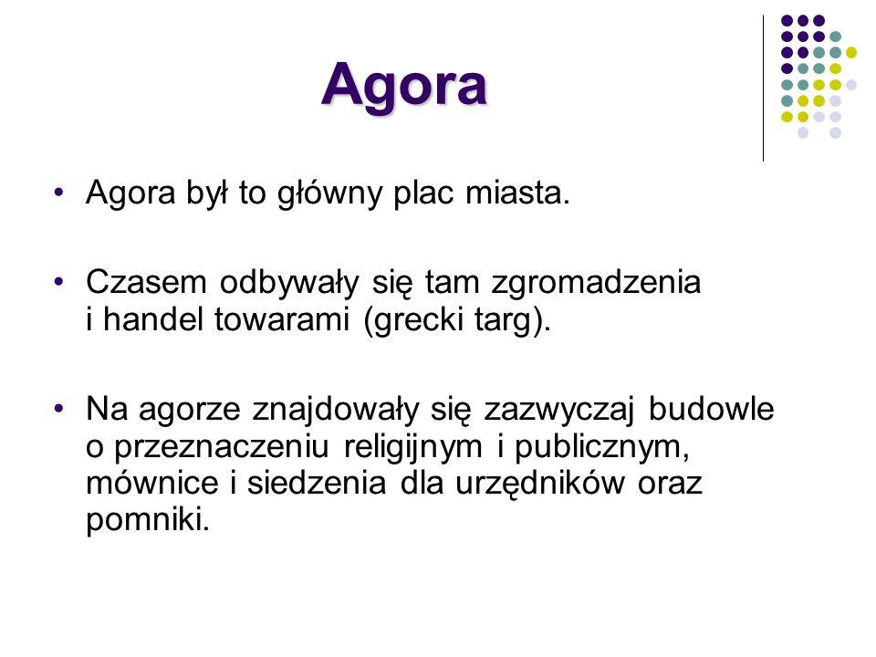 Agora Agora był to główny plac miasta. Czasem odbywały się tam zgromadzenia i handel towarami (grecki targ). Na agorze znajdowały się zazwyczaj budowl