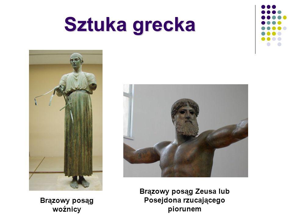 Brązowy posąg Zeusa lub Posejdona rzucającego piorunem Brązowy posąg woźnicy Sztuka grecka