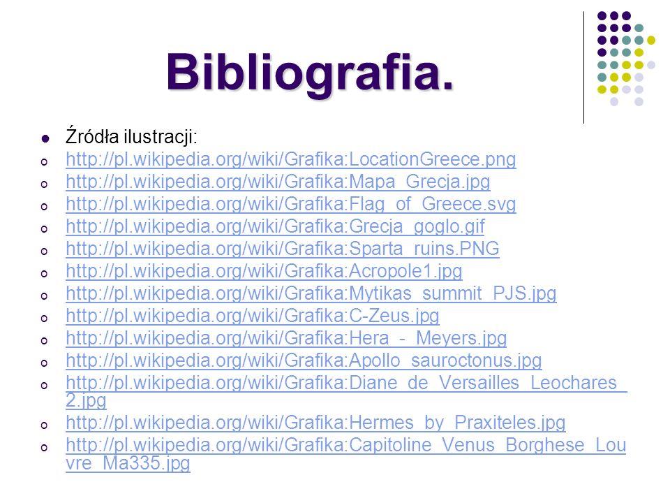 Bibliografia. Źródła ilustracji: o http://pl.wikipedia.org/wiki/Grafika:LocationGreece.png http://pl.wikipedia.org/wiki/Grafika:LocationGreece.png o h