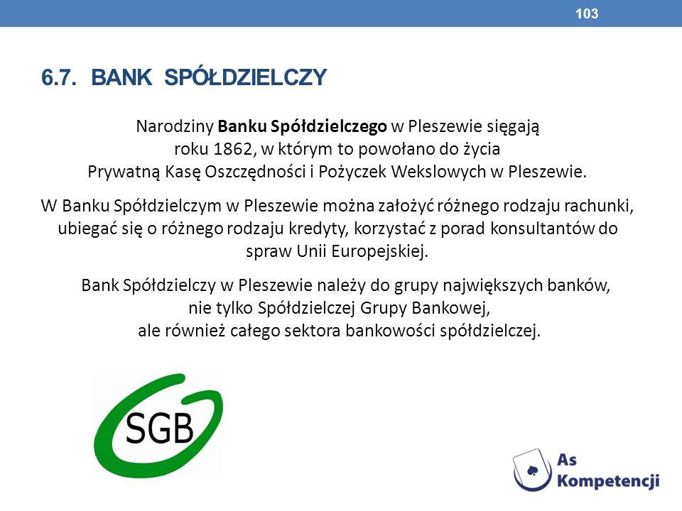 6.7. BANK SPÓŁDZIELCZY Narodziny Banku Spółdzielczego w Pleszewie sięgają roku 1862, w którym to powołano do życia Prywatną Kasę Oszczędności i Pożycz