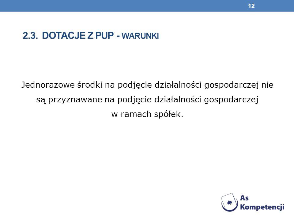 2.3. DOTACJE Z PUP - WARUNKI Jednorazowe środki na podjęcie działalności gospodarczej nie są przyznawane na podjęcie działalności gospodarczej w ramac