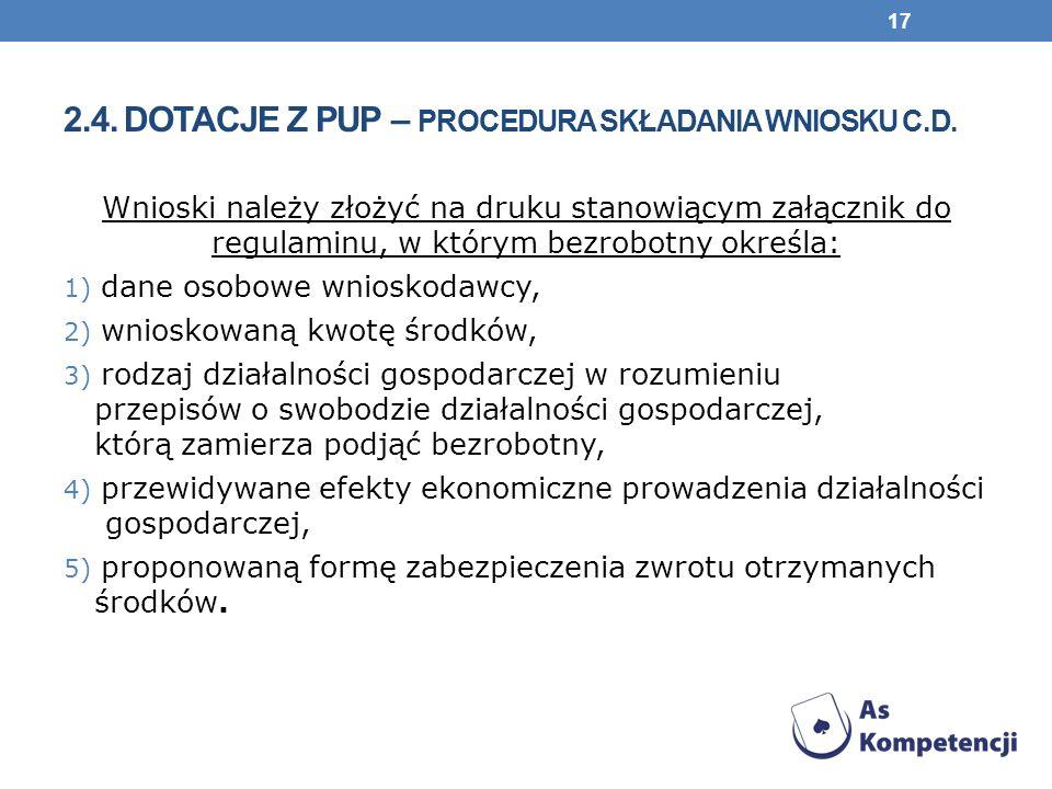 2.4.DOTACJE Z PUP – PROCEDURA SKŁADANIA WNIOSKU C.D.