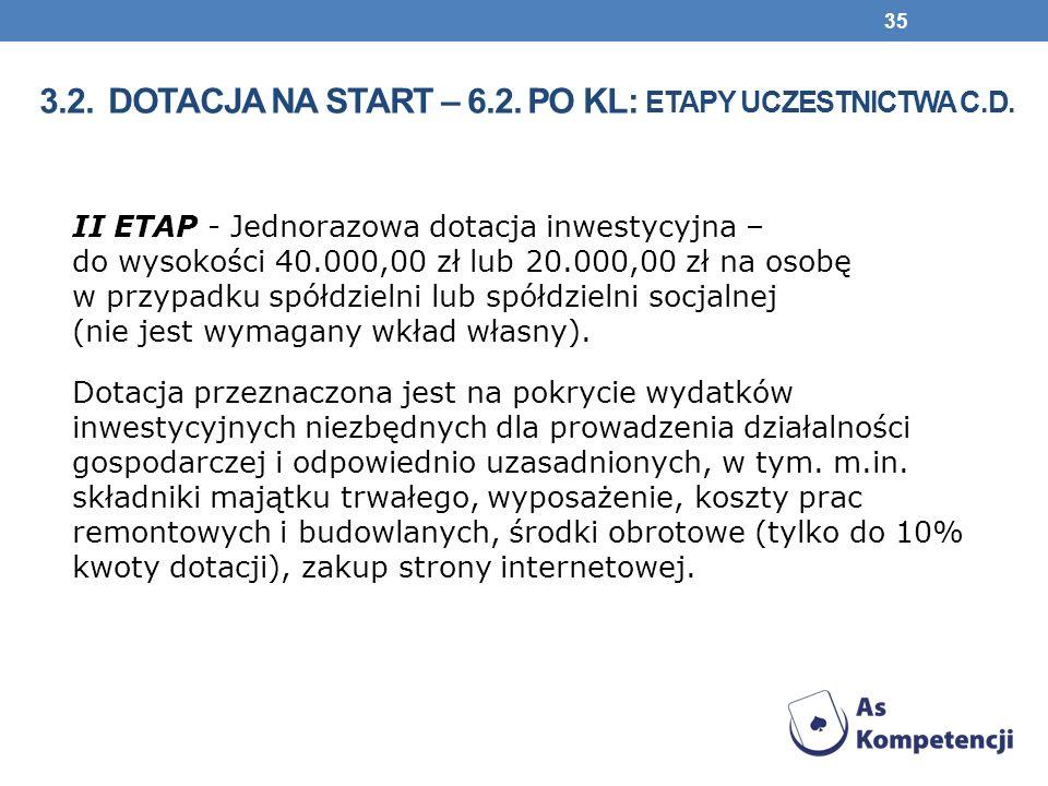 II ETAP - Jednorazowa dotacja inwestycyjna – do wysokości 40.000,00 zł lub 20.000,00 zł na osobę w przypadku spółdzielni lub spółdzielni socjalnej (nie jest wymagany wkład własny).