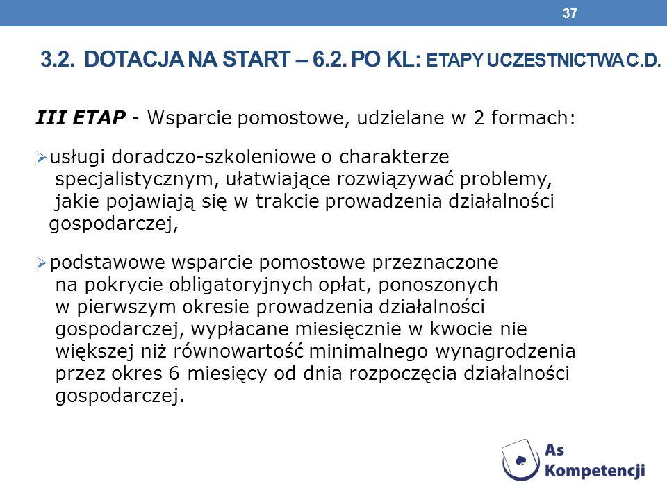 III ETAP - Wsparcie pomostowe, udzielane w 2 formach: usługi doradczo-szkoleniowe o charakterze specjalistycznym, ułatwiające rozwiązywać problemy, jakie pojawiają się w trakcie prowadzenia działalności gospodarczej, podstawowe wsparcie pomostowe przeznaczone na pokrycie obligatoryjnych opłat, ponoszonych w pierwszym okresie prowadzenia działalności gospodarczej, wypłacane miesięcznie w kwocie nie większej niż równowartość minimalnego wynagrodzenia przez okres 6 miesięcy od dnia rozpoczęcia działalności gospodarczej.