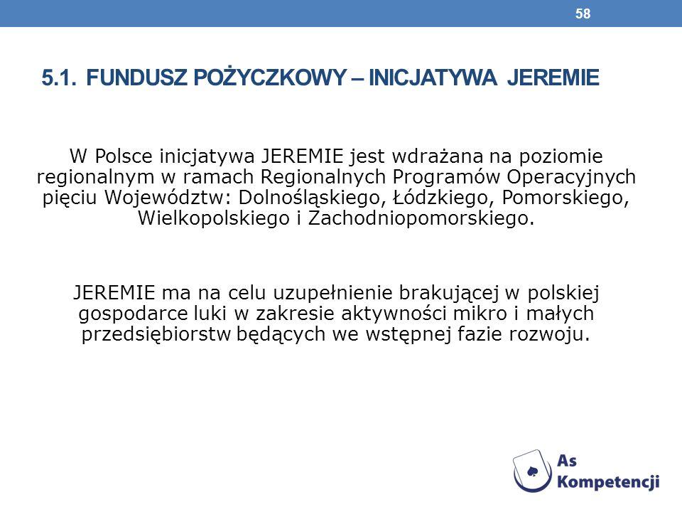 5.1. FUNDUSZ POŻYCZKOWY – INICJATYWA JEREMIE W Polsce inicjatywa JEREMIE jest wdrażana na poziomie regionalnym w ramach Regionalnych Programów Operacy