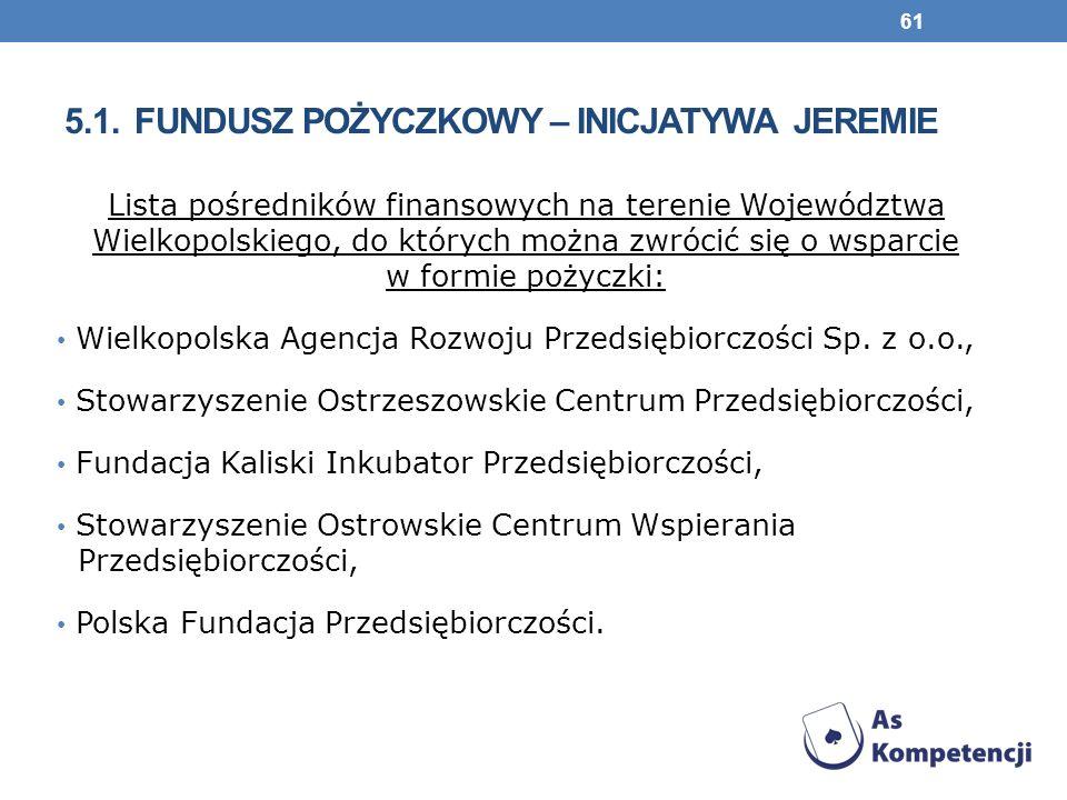 5.1. FUNDUSZ POŻYCZKOWY – INICJATYWA JEREMIE Lista pośredników finansowych na terenie Województwa Wielkopolskiego, do których można zwrócić się o wspa