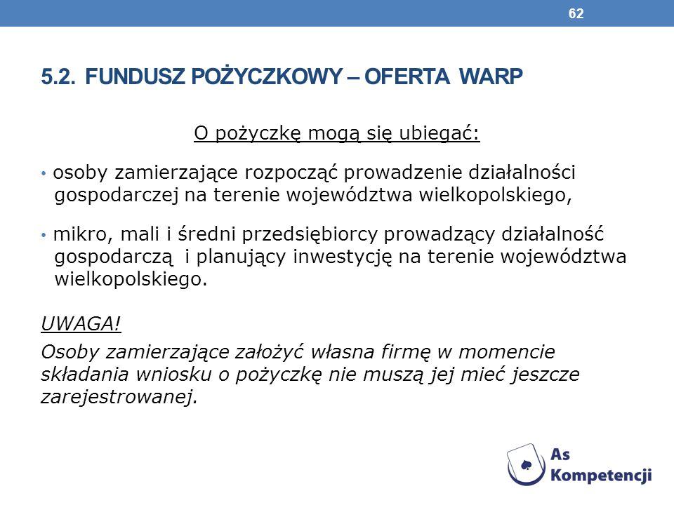 O pożyczkę mogą się ubiegać: osoby zamierzające rozpocząć prowadzenie działalności gospodarczej na terenie województwa wielkopolskiego, mikro, mali i średni przedsiębiorcy prowadzący działalność gospodarczą i planujący inwestycję na terenie województwa wielkopolskiego.