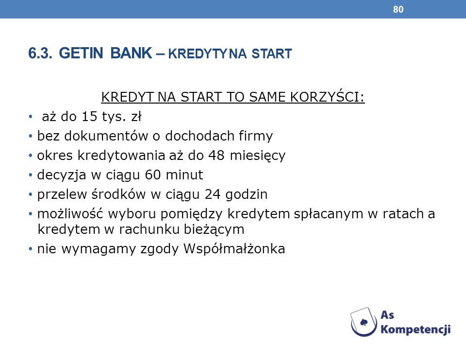 6.3.GETIN BANK – KREDYTY NA START KREDYT NA START TO SAME KORZYŚCI: aż do 15 tys.