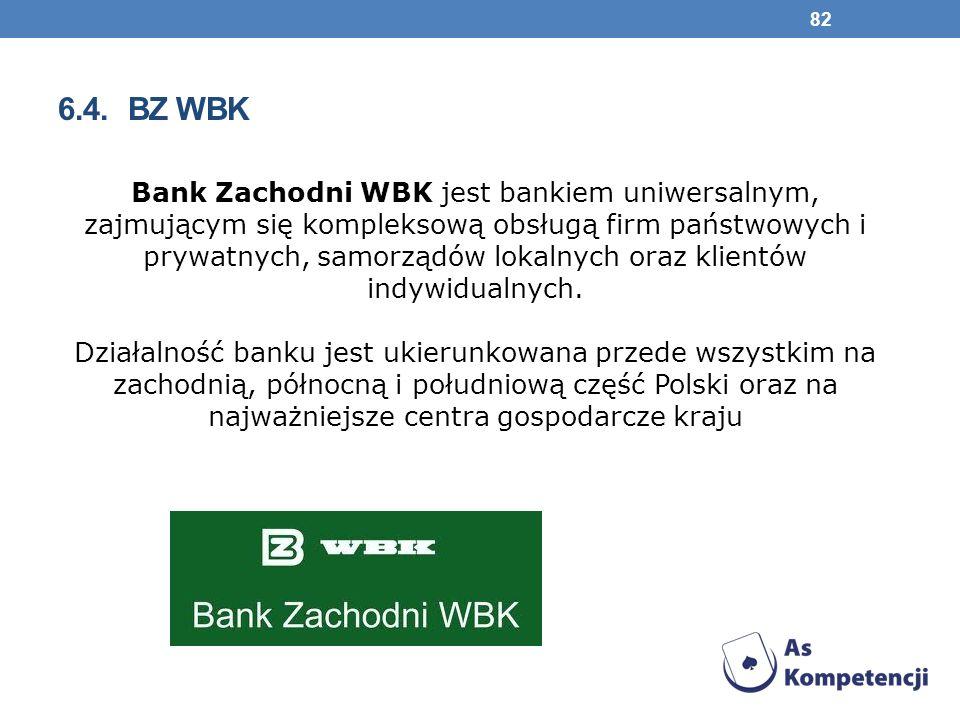 6.4. BZ WBK Bank Zachodni WBK jest bankiem uniwersalnym, zajmującym się kompleksową obsługą firm państwowych i prywatnych, samorządów lokalnych oraz k