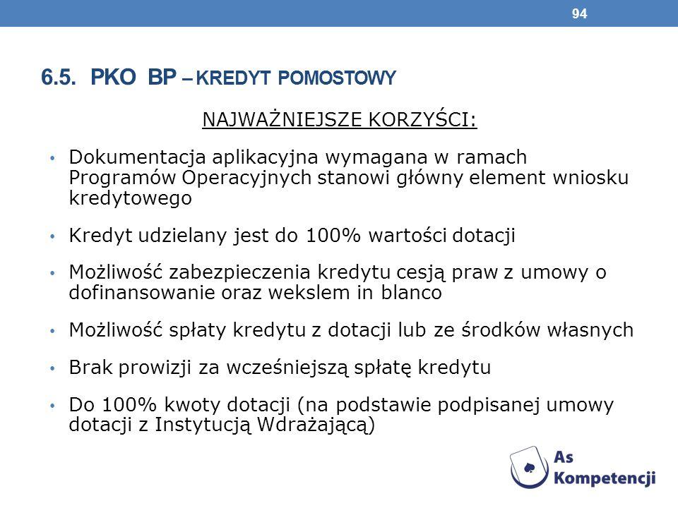6.5. PKO BP – KREDYT POMOSTOWY NAJWAŻNIEJSZE KORZYŚCI: Dokumentacja aplikacyjna wymagana w ramach Programów Operacyjnych stanowi główny element wniosk