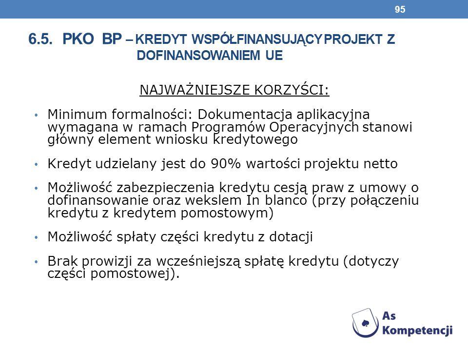 6.5. PKO BP – KREDYT WSPÓŁFINANSUJĄCY PROJEKT Z DOFINANSOWANIEM UE NAJWAŻNIEJSZE KORZYŚCI: Minimum formalności: Dokumentacja aplikacyjna wymagana w ra