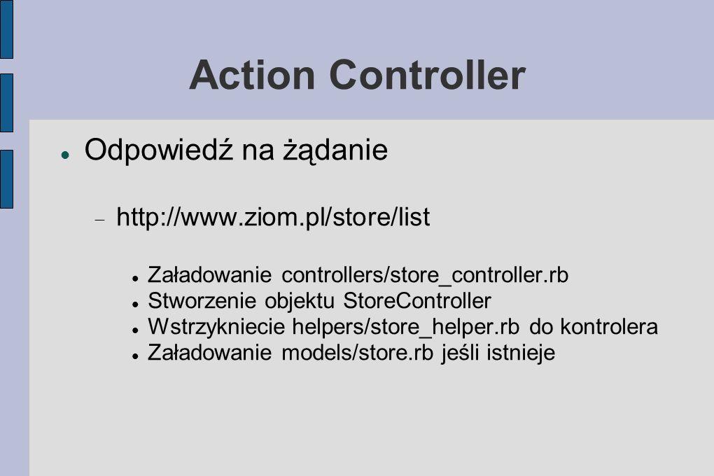 Action Controller Odpowiedź na żądanie http://www.ziom.pl/store/list Załadowanie controllers/store_controller.rb Stworzenie objektu StoreController Wstrzykniecie helpers/store_helper.rb do kontrolera Załadowanie models/store.rb jeśli istnieje