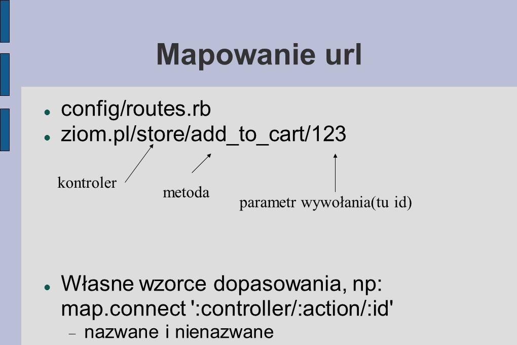 Mapowanie url config/routes.rb ziom.pl/store/add_to_cart/123 Własne wzorce dopasowania, np: map.connect :controller/:action/:id nazwane i nienazwane kontroler metoda parametr wywołania(tu id)