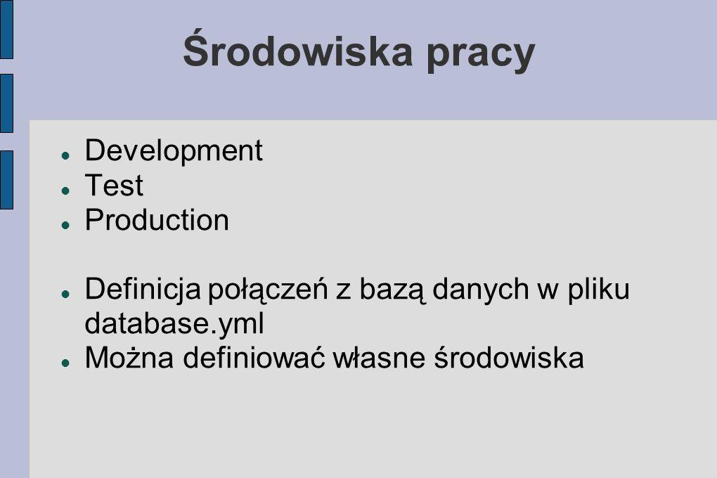 Środowiska pracy Development Test Production Definicja połączeń z bazą danych w pliku database.yml Można definiować własne środowiska