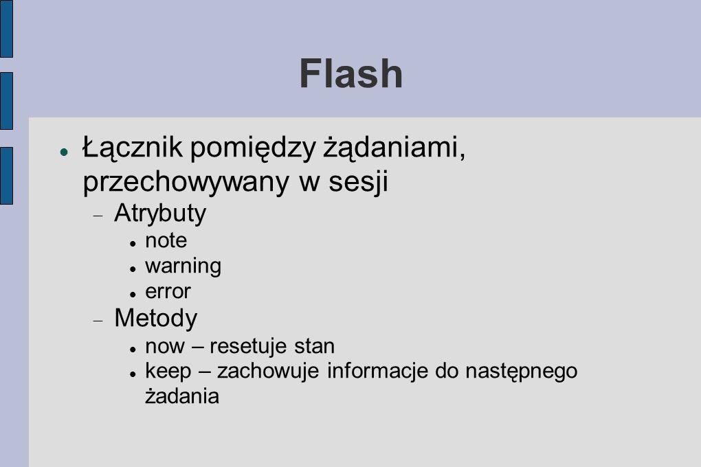 Flash Łącznik pomiędzy żądaniami, przechowywany w sesji Atrybuty note warning error Metody now – resetuje stan keep – zachowuje informacje do następnego żadania