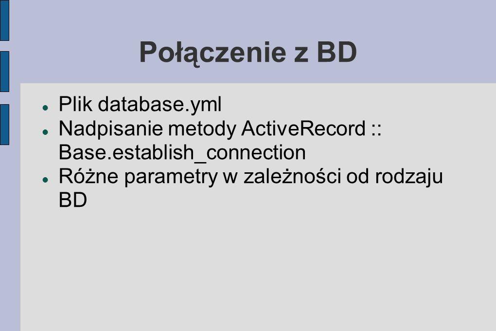 Połączenie z BD Plik database.yml Nadpisanie metody ActiveRecord :: Base.establish_connection Różne parametry w zależności od rodzaju BD