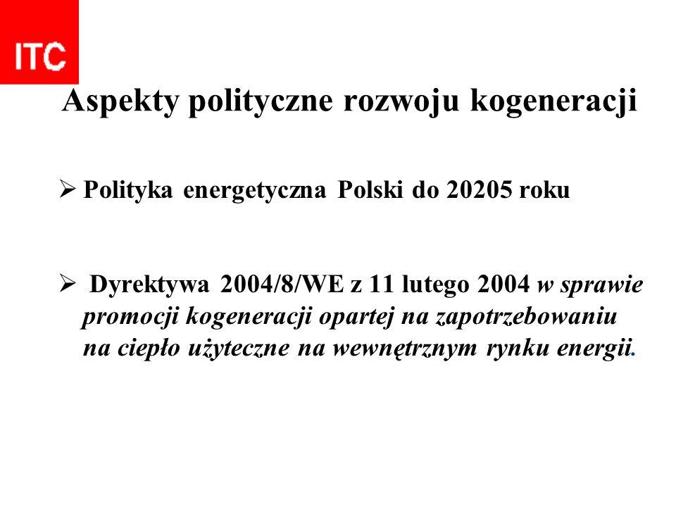 Aspekty polityczne rozwoju kogeneracji Polityka energetyczna Polski do 20205 roku Dyrektywa 2004/8/WE z 11 lutego 2004 w sprawie promocji kogeneracji