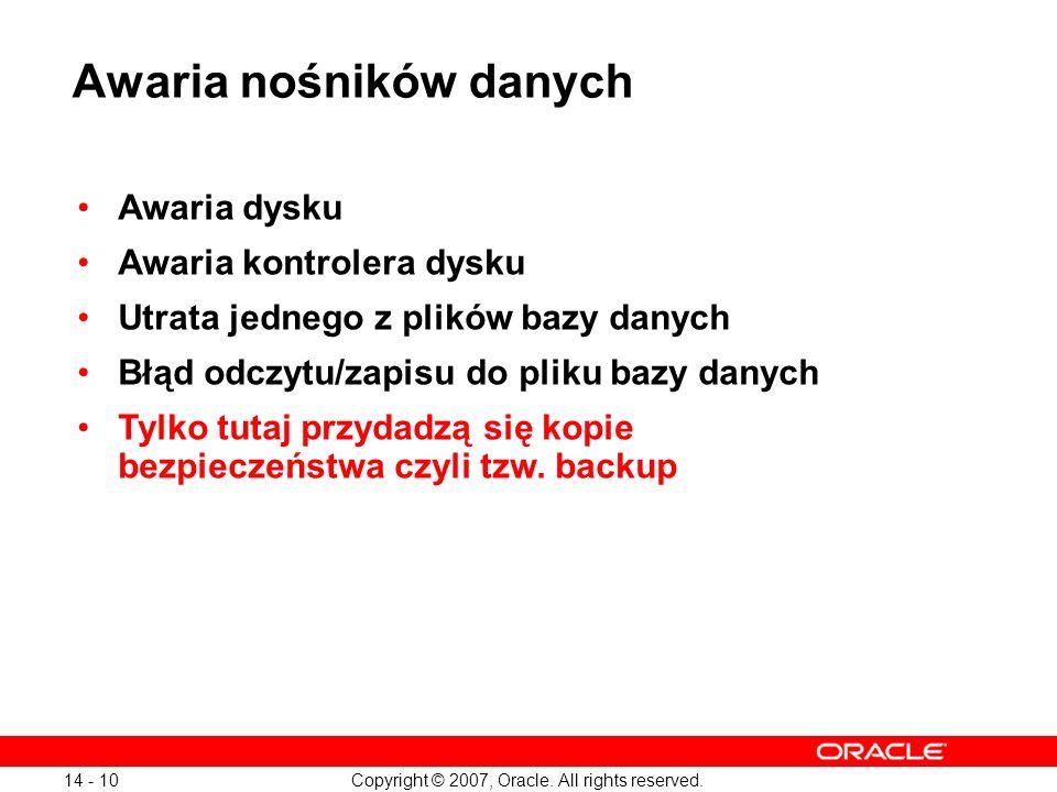 Copyright © 2007, Oracle. All rights reserved. 14 - 10 Awaria nośników danych Awaria dysku Awaria kontrolera dysku Utrata jednego z plików bazy danych