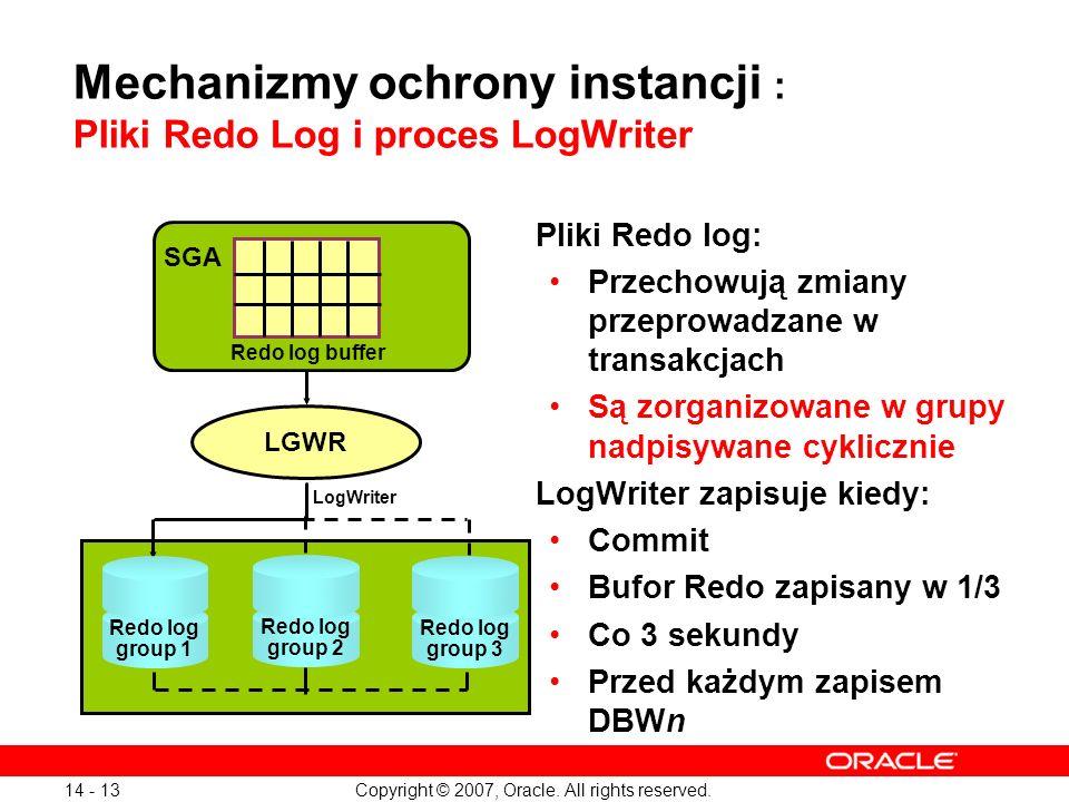 Copyright © 2007, Oracle. All rights reserved. 14 - 13 Mechanizmy ochrony instancji : Pliki Redo Log i proces LogWriter Pliki Redo log: Przechowują zm