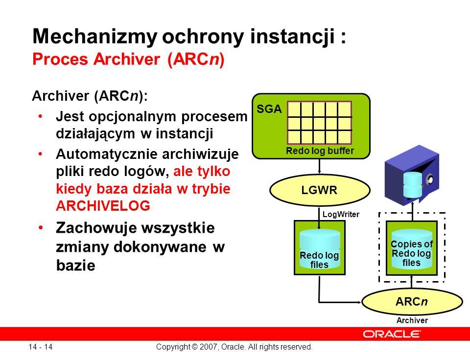 Copyright © 2007, Oracle. All rights reserved. 14 - 14 Mechanizmy ochrony instancji : Proces Archiver (ARCn) Archiver (ARCn): Jest opcjonalnym procese