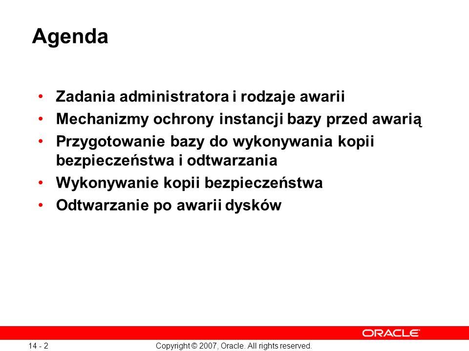 Copyright © 2007, Oracle. All rights reserved. 14 - 2 Agenda Zadania administratora i rodzaje awarii Mechanizmy ochrony instancji bazy przed awarią Pr