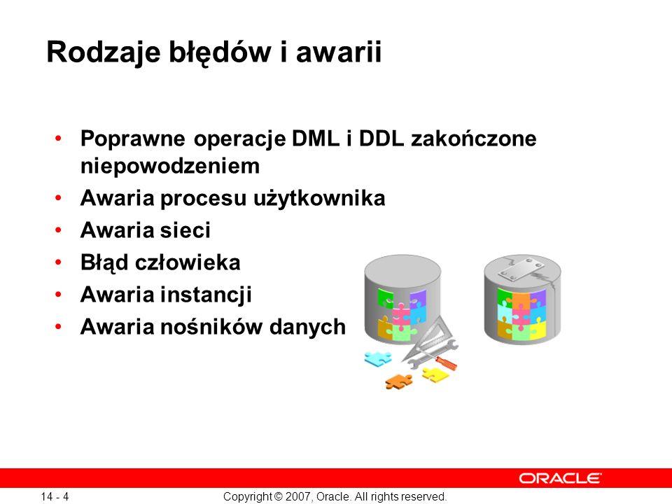 Copyright © 2007, Oracle. All rights reserved. 14 - 4 Rodzaje błędów i awarii Poprawne operacje DML i DDL zakończone niepowodzeniem Awaria procesu uży