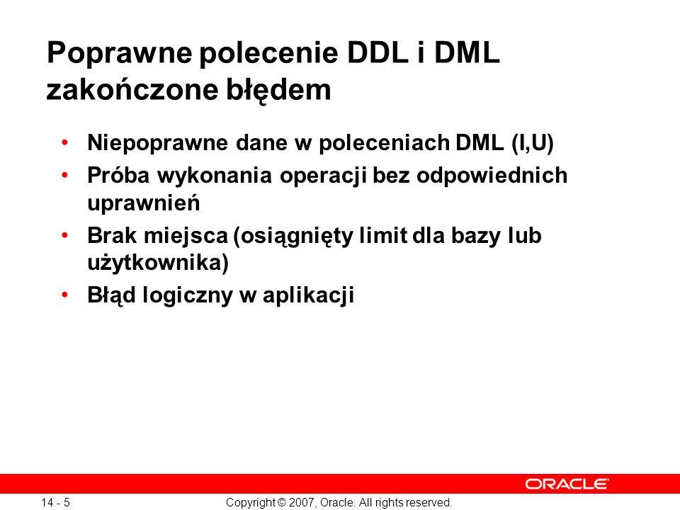 Copyright © 2007, Oracle. All rights reserved. 14 - 5 Poprawne polecenie DDL i DML zakończone błędem Niepoprawne dane w poleceniach DML (I,U) Próba wy