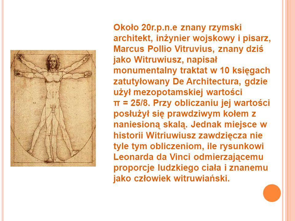 Około 20r.p.n.e znany rzymski architekt, inżynier wojskowy i pisarz, Marcus Pollio Vitruvius, znany dziś jako Witruwiusz, napisał monumentalny traktat