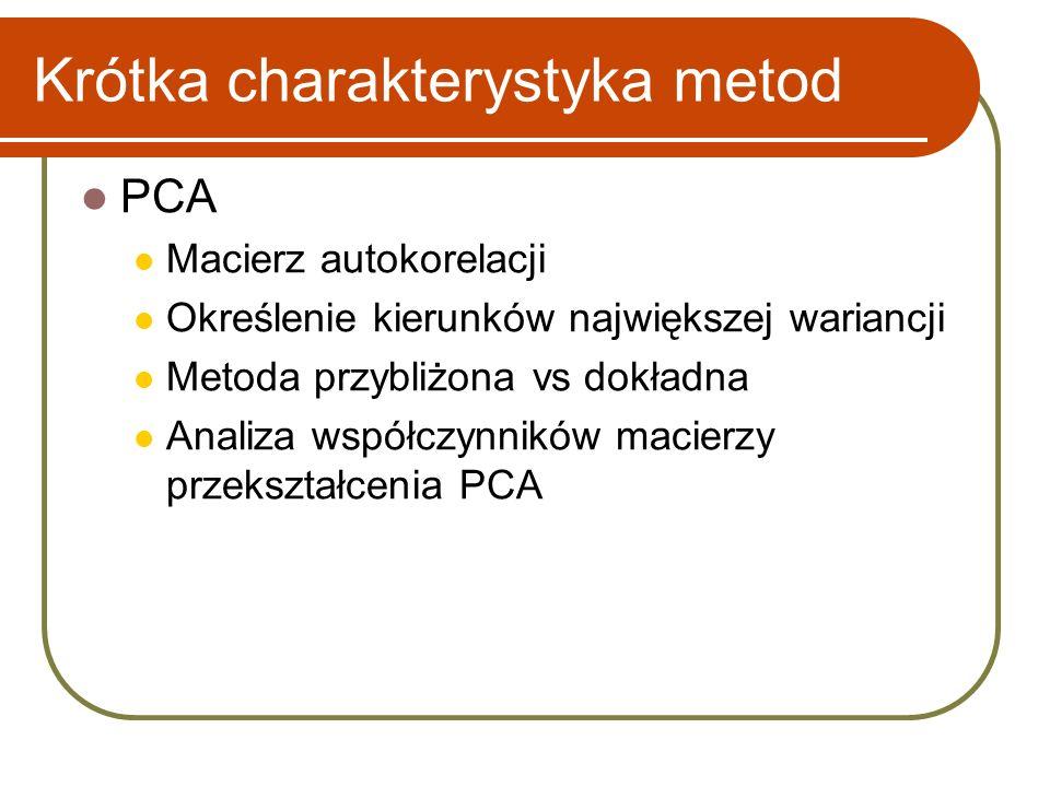 Krótka charakterystyka metod PCA Macierz autokorelacji Określenie kierunków największej wariancji Metoda przybliżona vs dokładna Analiza współczynników macierzy przekształcenia PCA