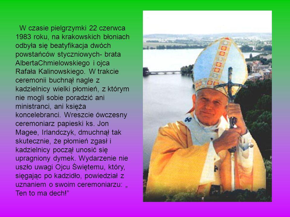 W czasie pielgrzymki 22 czerwca 1983 roku, na krakowskich błoniach odbyła się beatyfikacja dwóch powstańców styczniowych- brata AlbertaChmielowskiego