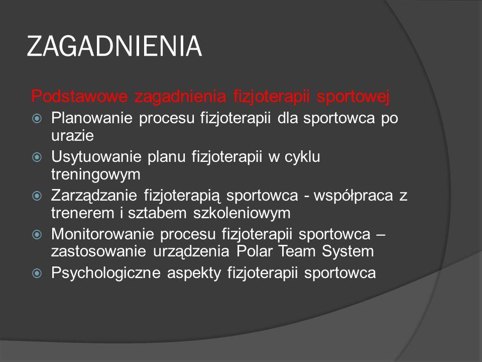ZAGADNIENIA Podstawowe zagadnienia fizjoterapii sportowej Planowanie procesu fizjoterapii dla sportowca po urazie Usytuowanie planu fizjoterapii w cyk
