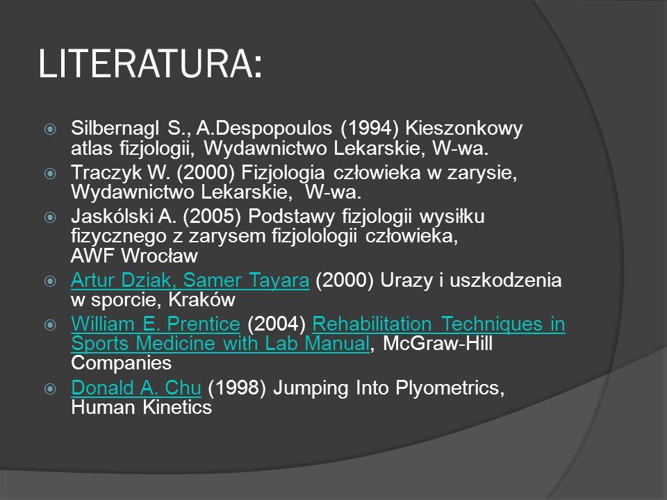 LITERATURA: Silbernagl S., A.Despopoulos (1994) Kieszonkowy atlas fizjologii, Wydawnictwo Lekarskie, W-wa. Traczyk W. (2000) Fizjologia człowieka w za
