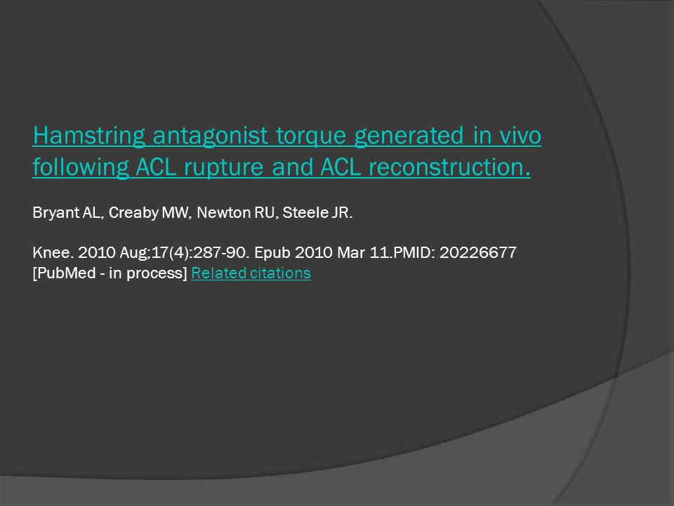 Hamstring antagonist torque generated in vivo following ACL rupture and ACL reconstruction. Hamstring antagonist torque generated in vivo following AC